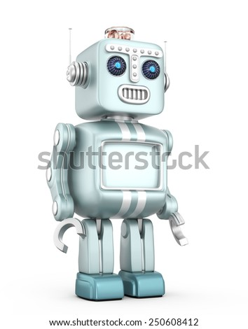 Cute vintage robot isolated on white background. - stock photo