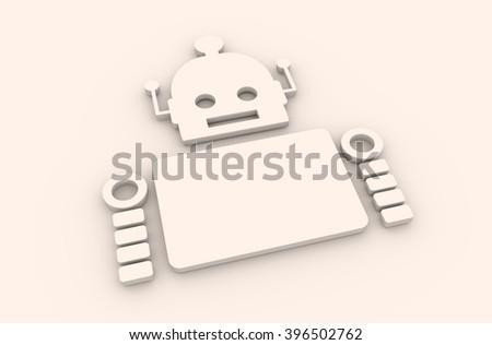 Cute vintage robot. Robotics industry relative image. 3D rendering - stock photo