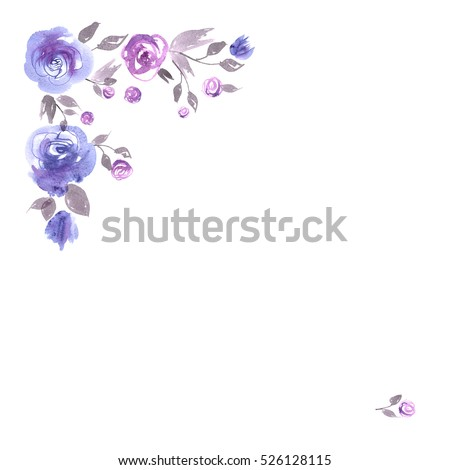 Cute Watercolor Flower Corner Background Blue Stock Illustration 526128115