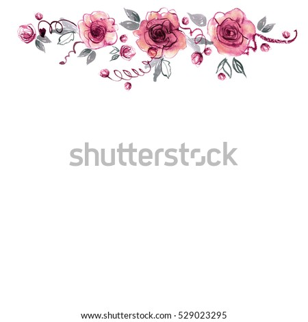 Cute Watercolor Hand Painted Flower Border Stock Illustration 529023295 - Shutterstock