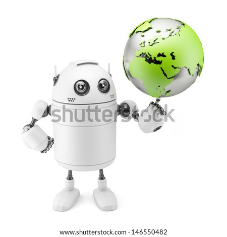 Cute white robot holding globe. Isolated on white background