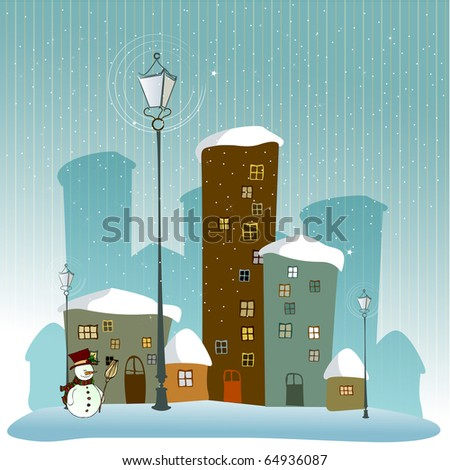 cute winter background with illustrated snowman - stock photo