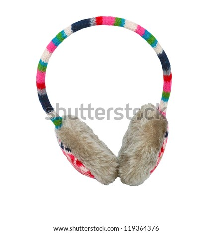 cute winter ear-muffs isolated over white background - stock photo