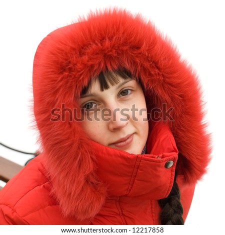 Cute Winter Girl on White Background