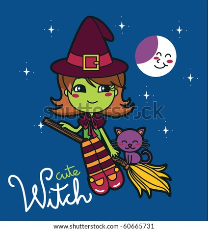 Cute Witch flying in a broom with her cat. Raster version of vector illustration ID: 55460818 - stock photo