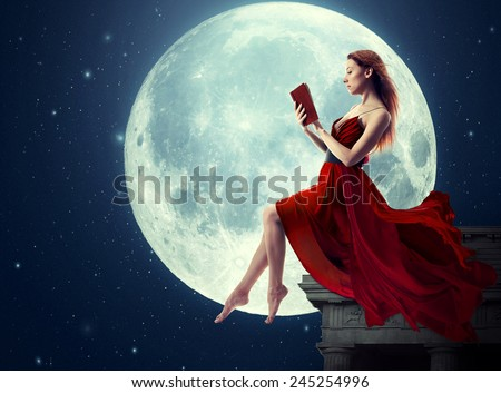 Cute woman, female reading book, moonlight sky night skyline, night skyline clouds background. Dreamy,  nature landscape screen saver, artistic illustration. Elements of this image furnished by NASA - stock photo