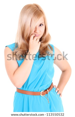 Cute woman isolated over white background - stock photo