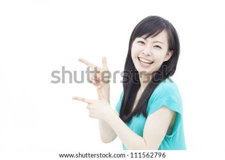 Cute woman pointing copy space, isolated on white background