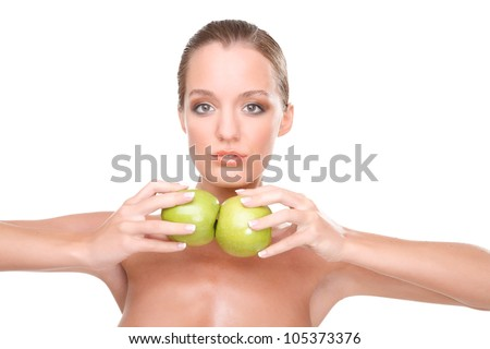 cute woman posing with two green apples - stock photo