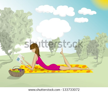 cute woman reading the book outdoors, and dreaming - stock photo