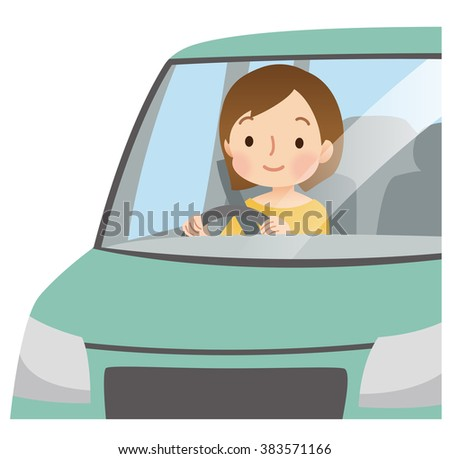 """Cute woman to driving the car """"""""green color vehicle"""""""" - stock photo"""