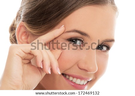 Cute woman with beautiful face - stock photo