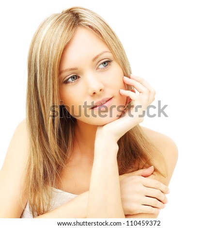 Cute woman with clean skin - female beauty - stock photo