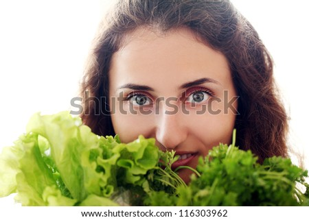 Cute woman with fresh salad isolated on a white - stock photo
