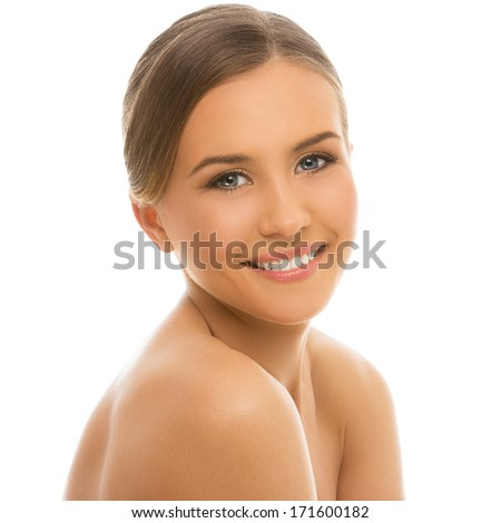 Cute woman with perfect, clean skin on a white background - stock photo