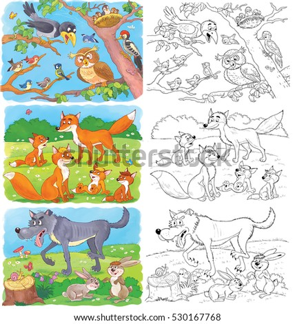 Cute Woodland Animals Crow Owl Woodpecker Foxes Wolf And Hares