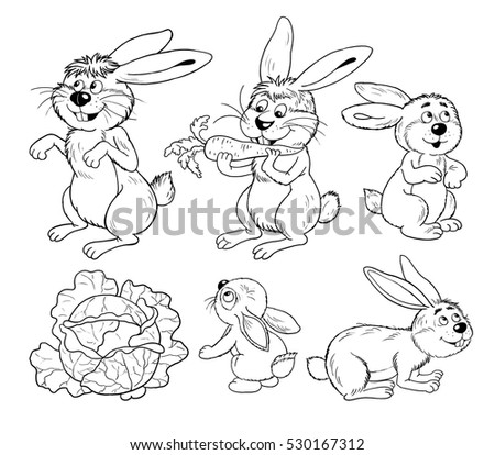 Cute Woodland Animals Fluffy Hares And Rabbits Coloring Book Page