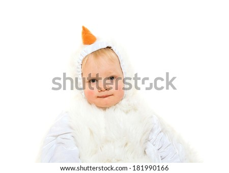 Cute 2-year-old blond baby boy in chicken suit on white background