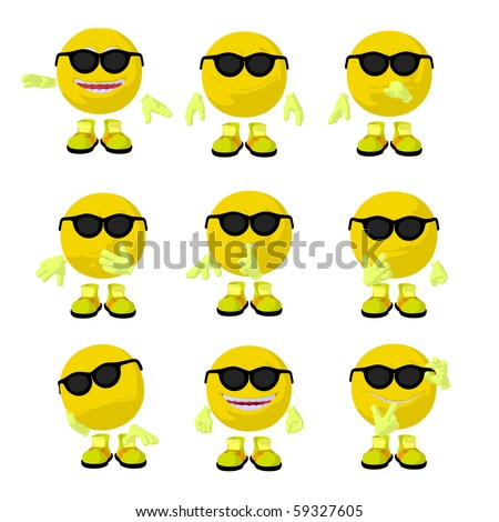 Cute yellow emoticon art illustration on a white background - stock photo