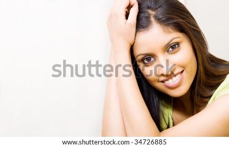 cute young arabian woman portrait - stock photo