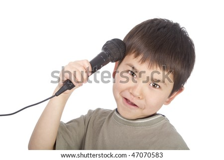 """Cute young asian boy with microphone - """" Is this thing on"""" - stock photo"""