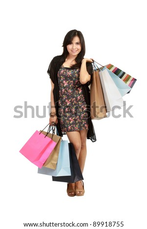 cute Young  asian Woman with Shopping Bags in isolated white background - stock photo