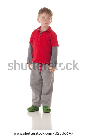Cute young blond boy, isolated on white - stock photo