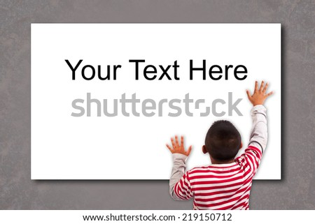 Cute young boy and blank sign - stock photo