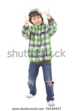 Cute young boy giving two peace signs isolated on white background