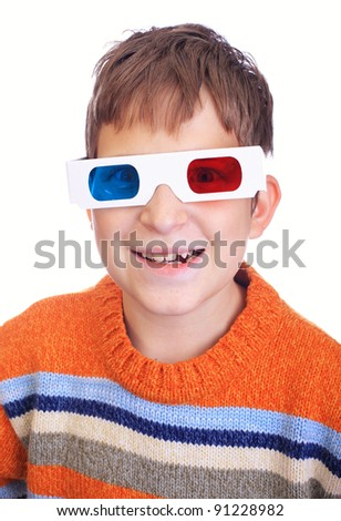 Cute young boy wearing 3D glasses isolated over white - stock photo