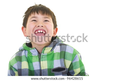 Cute young boy with great smile and colorful hoodie isolated on white background