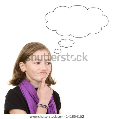 Cute young brunette girl thinking or daydreaming, portrait on white background. - stock photo