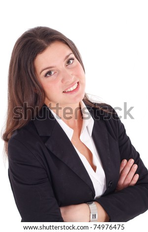 Cute young businesswoman portrait isolated on white - stock photo