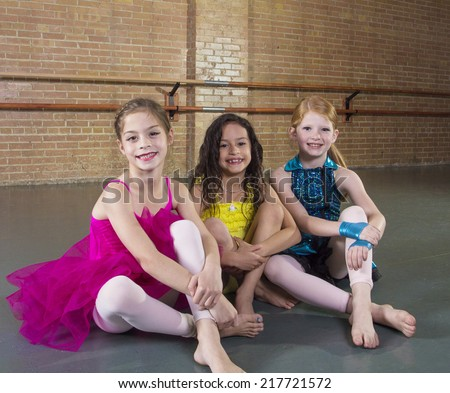 Cute young dancers at a dance studio - stock photo