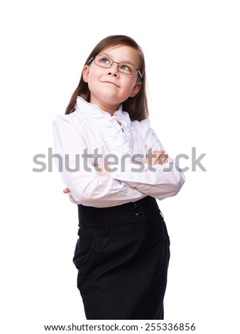 Cute young girl business, isolated over white - stock photo