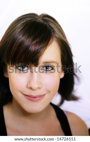 Cute young girl portrait with bangs