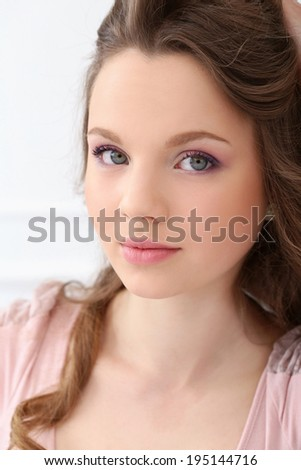 Cute, young girl with beautiful face - stock photo
