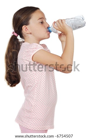 Cute young girl with bottle drinking water - stock photo