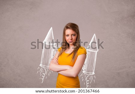Cute young girl with jet pack rocket drawing illustration - stock photo
