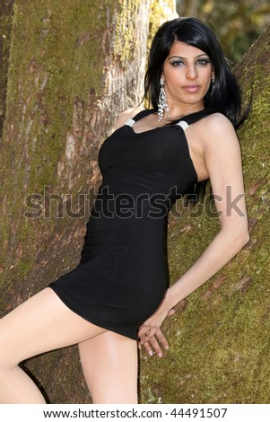 Cute Young Indian Model In An Outdoors Setting