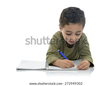 Cute Young Schoolboy Studying Isolated on White Background - stock photo