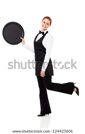 cute young waitress isolated on white - stock photo