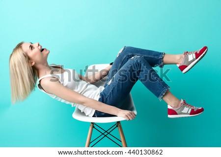 Cute young woman is having fun - stock photo