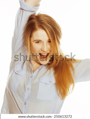 cute young woman making cheerful faces on white background, messed hair isolated close up - stock photo