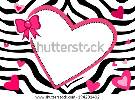 Cute zebra bacground with heart and place for text - stock photo