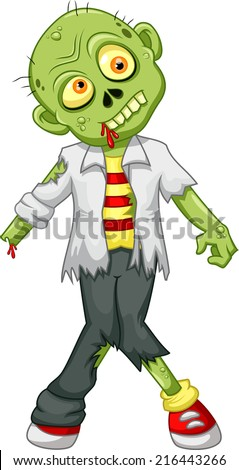 Cute zombie cartoon - stock photo
