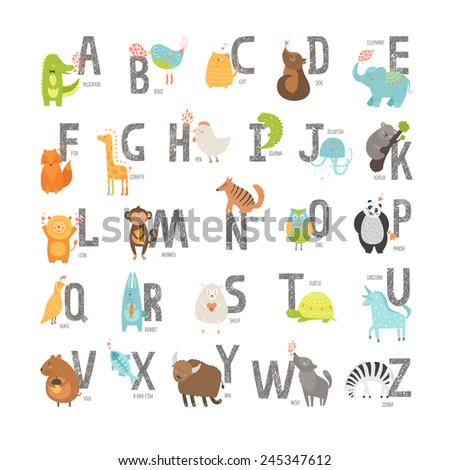 Cute zoo alphabet with cartoon animals isolated on white background. Grunge letters, cat, dog, turtle, elephant, panda, alligator,lion, zebra - stock photo