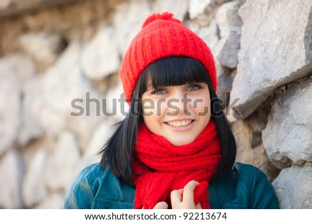 cutel girl in red cap and scarf