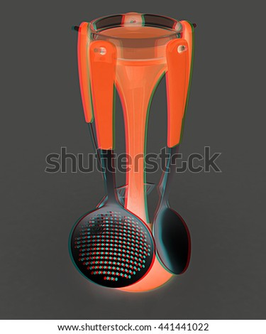 cutlery. 3D illustration. Anaglyph. View with red/cyan glasses - stock photo