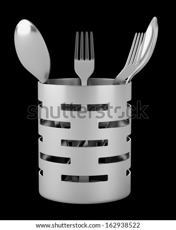 cutlery drainer with forks and spoons isolated on black background